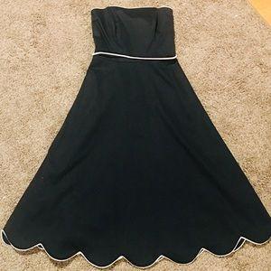 White House Black Market Dresses - WHBM Strapless A Line Dress Scallop Hem Size 0